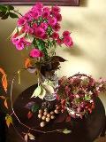 jesienne aranżacje, dekoracje z jesiennych kwiatów, warzyw i owoców, ogrodnik, ogród, jesień w ogrodzie, owoce róży, orzecha włoskiego, winobluszcz, aster nowoangielski, hortensja bukietowa, zdjęcia ogrodowe,  galeria ogrodowa