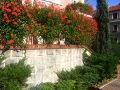 zdjęcia ogrodów, dodatki ogrodowe, murki, pelargonie bluszczolistne, iglaki, pomysły na ogród, galeria ogrodowa